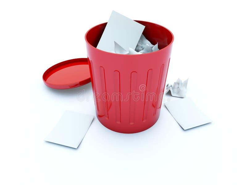 Full red bin vector illustration