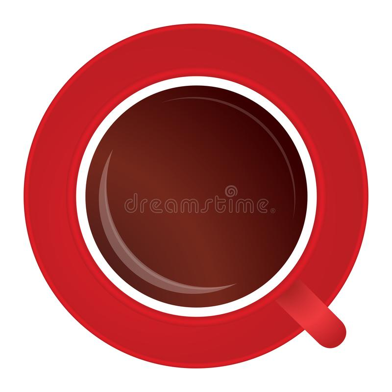 Full red cup of black tea or coffee on white stock photos