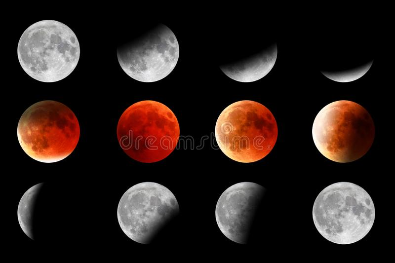 Red moon turning stock photo