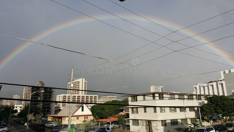 Full regnbåge i Honolulu Hawaii i regnig säsong arkivbild