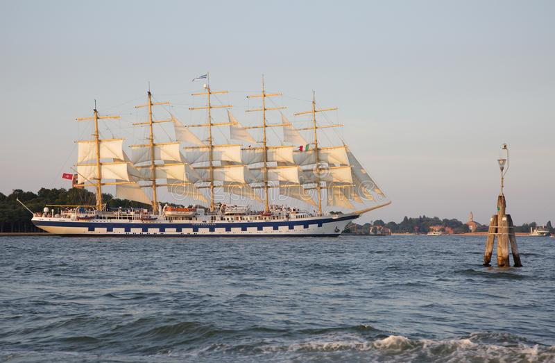 A full-rigged ship is a sailing vessel with three or more masts royalty free stock image