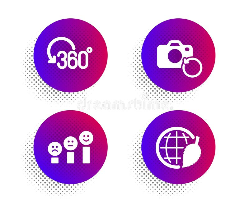 Full rotation, Recovery photo and Customer satisfaction icons set. Environment day sign. Vector. Full rotation, Recovery photo and Customer satisfaction icons stock illustration