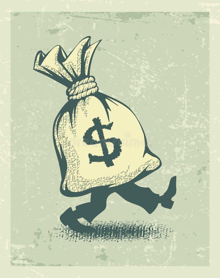 Full säck av pengarteckendollaren med att gå för ben vektor illustrationer