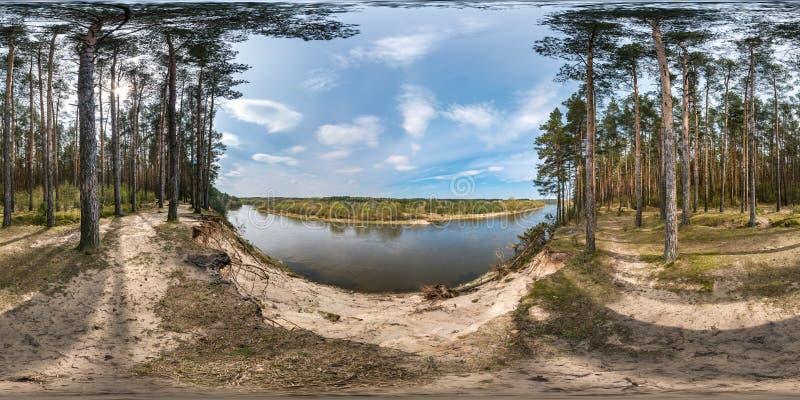Full s?ml?s sf?risk panorama 360 grader vinkelsikt p? det klippbrants- av en bred flod i pineryskog i solig sommardag in royaltyfria foton