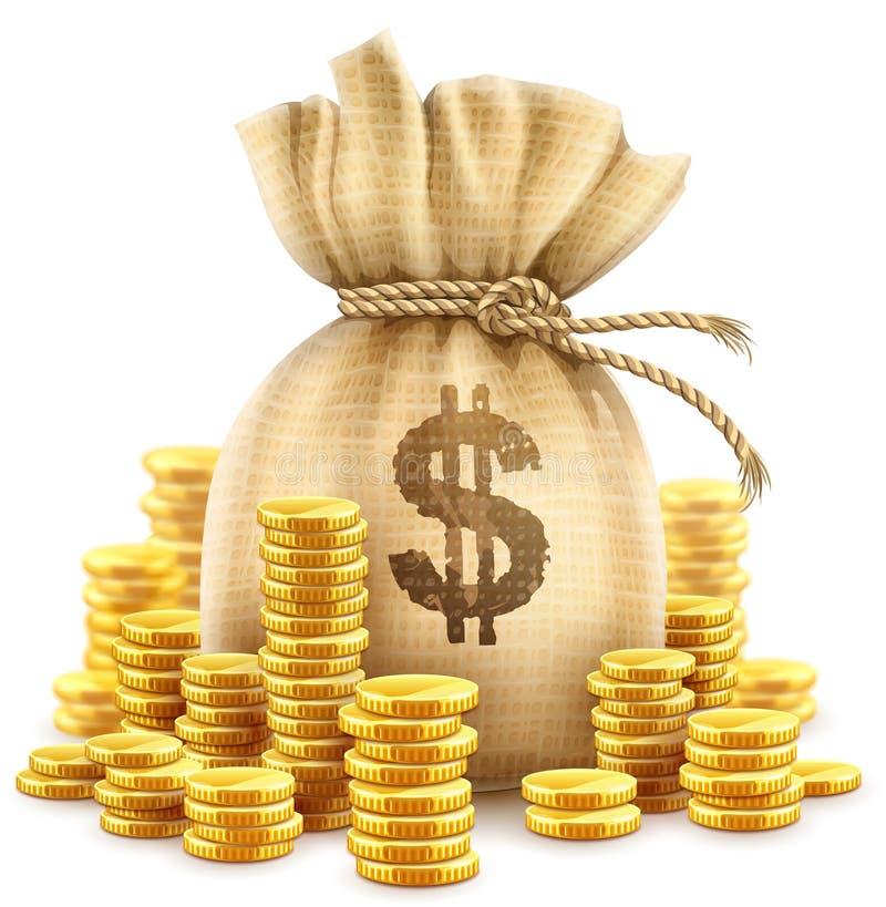 Full sack of cash money gold coins. Vector illustration. royalty free illustration