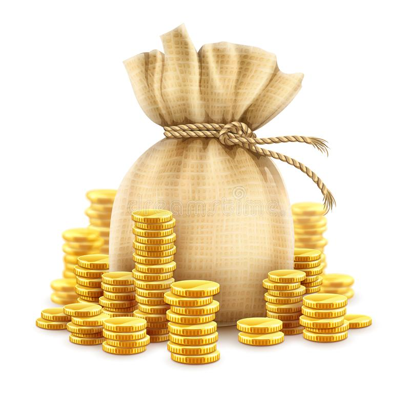 Full sack of cash money gold coins. Vector illustration. Full sack of cash money corded with rope and heaps of gold coins. Banking concept financial realistic vector illustration
