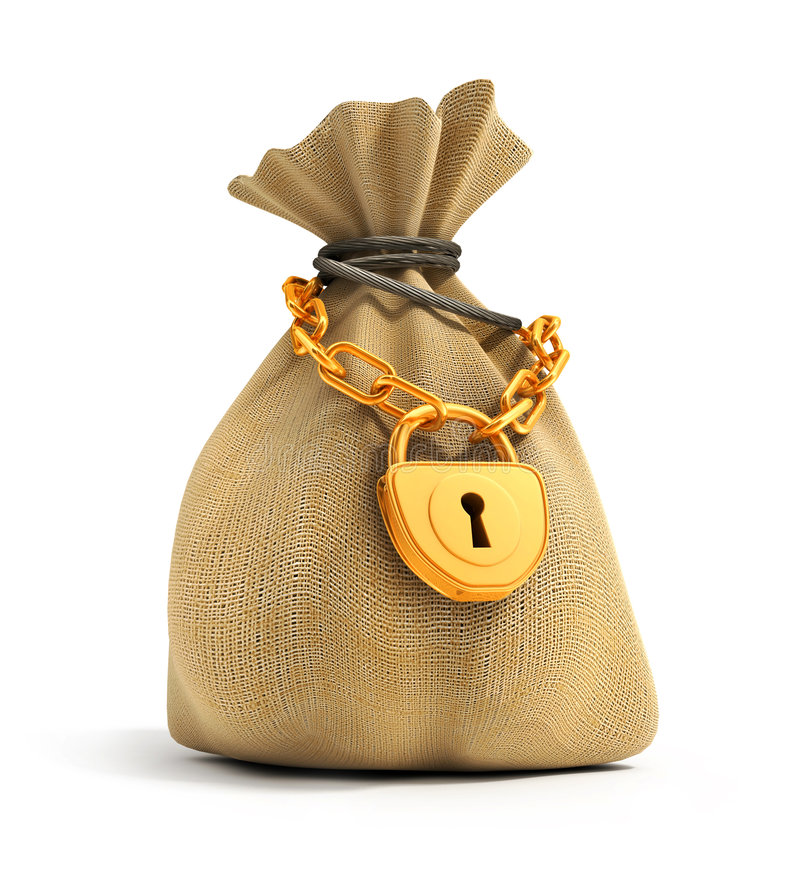Free Full Sack Locked By Gold Lock Royalty Free Stock Images - 3776739
