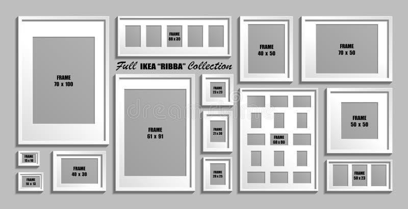 Full samling av IKEA Ribba fotoramar Verkliga format Vektorn ställde in av vita bildramar med stock illustrationer