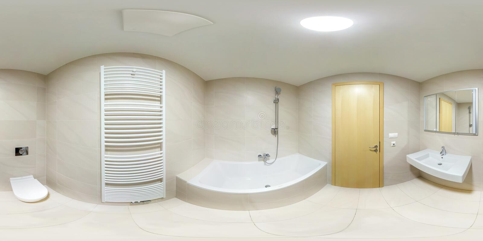 Full seamlees panorama 360 degrees angle view in modern white empty restroom bathroom in equirectangular spherical projection. VR. Content stock photography