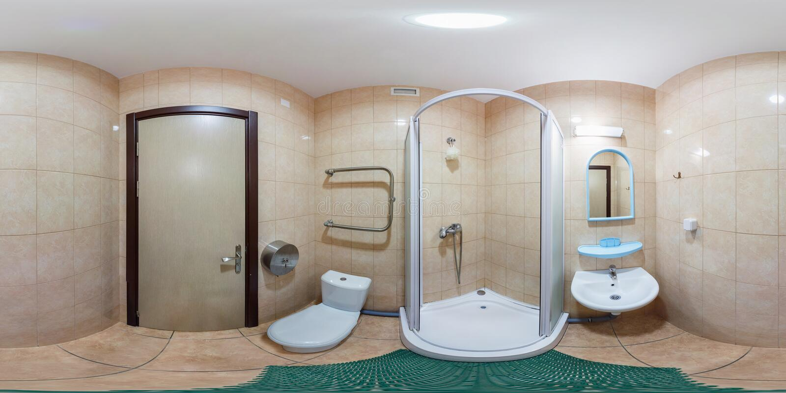 Full seamless 360 degree angle panorama Inside of the interior of empty white bathroom in minimalistic style in equirectangular stock illustration