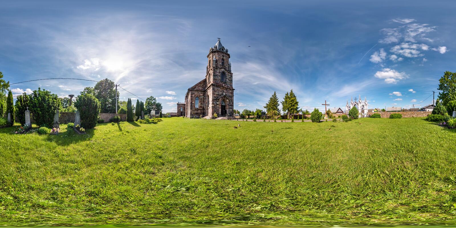 Full seamless hdri panorama 360 degrees angle view facade of church in beautiful decorative medieval neo gothic style architecture stock photography