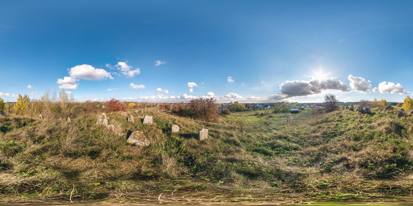 Full seamless panorama 360 degrees angle in equirectangural spherical cube projection. 360 panorama on small old jewish cemetery, stock image