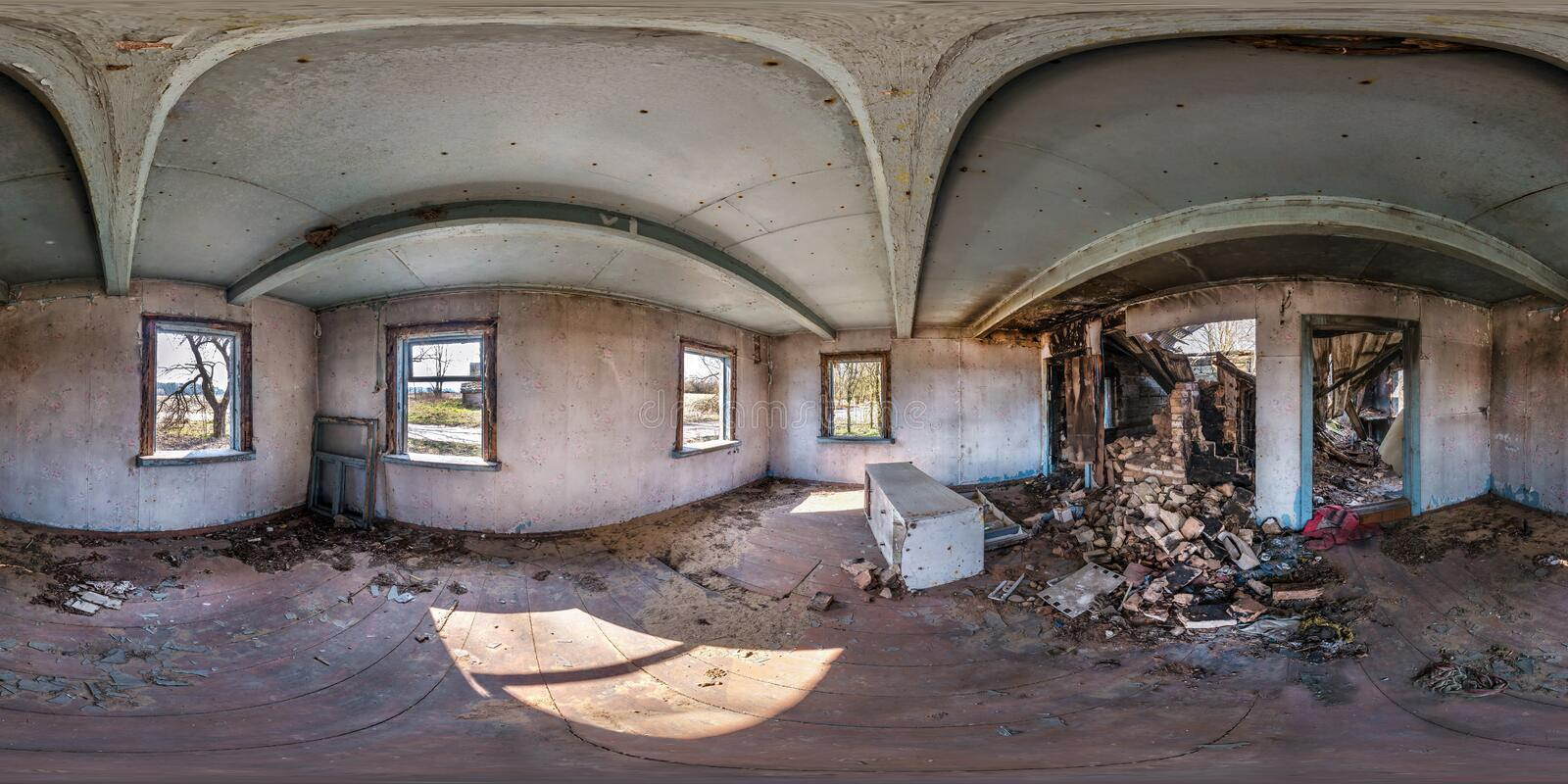 Full seamless spherical hdri panorama 360 degrees angle view inside abandoned wooden house in village in equirectangular stock images