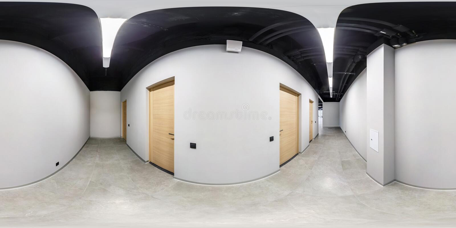 Full seamless spherical hdri panorama 360 degrees angle view in interior of white loft empty corridor for room office in. Equirectangular projection. VR content stock photos