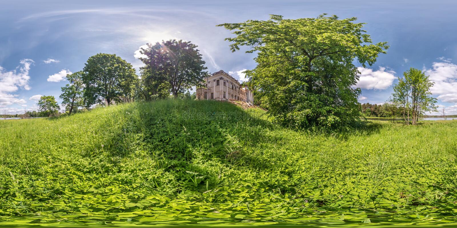 Full seamless spherical hdri panorama 360 degrees angle view near stone abandoned ruined palace and park complex in. Equirectangular projection, VR AR virtual stock photos