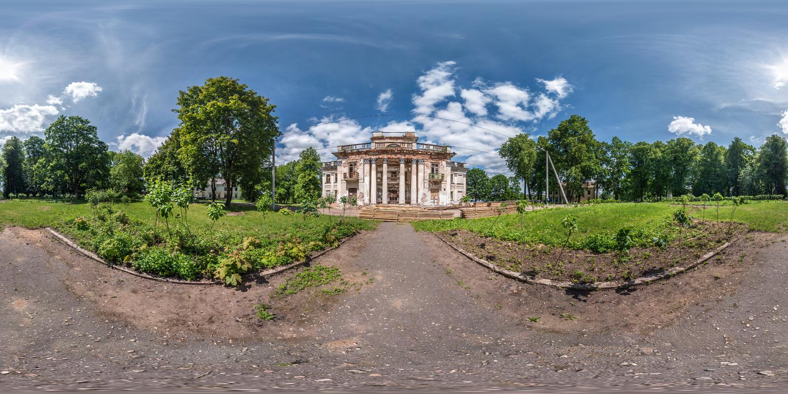 Full seamless spherical hdri panorama 360 degrees angle view near stone abandoned ruined palace and park complex in. Equirectangular projection, VR AR virtual royalty free stock images