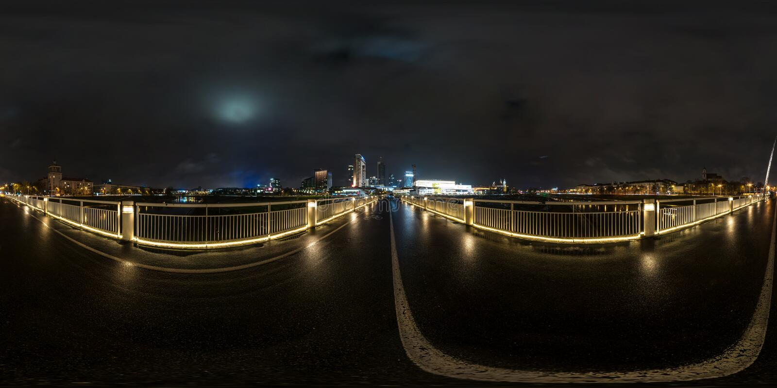 Full seamless spherical night panorama 360 degrees angle view on pedestrian bridge in equirectangular projection, ready for VR AR. Virtual reality stock image