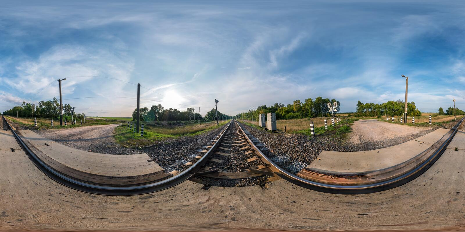 Full seamless spherical panorama 360 by 180 angle view near railroad crossing in equirectangular projection, ready VR virtual royalty free stock photos