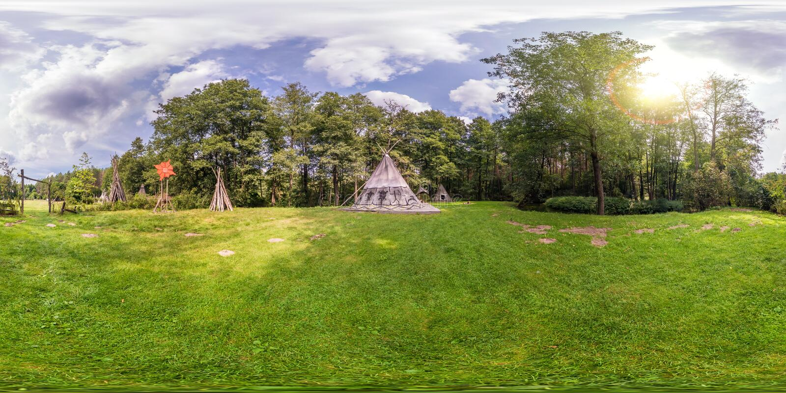 Full seamless spherical panorama 360 by 180 angle view near wigwam in the Indian village in forest in equirectangular projection, stock photography