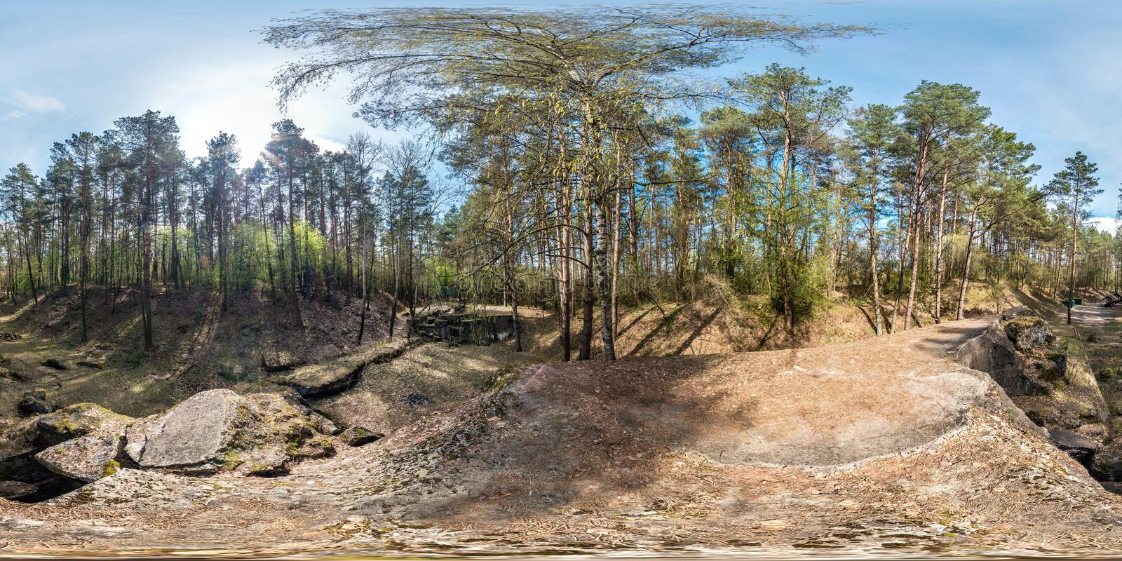 Full seamless spherical panorama 360 degrees angle view ruined abandoned military fortress of the First World War in pine forest royalty free stock image
