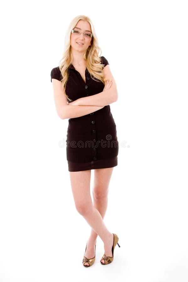 full seende posera kvinna för huvuddelkamera royaltyfria foton