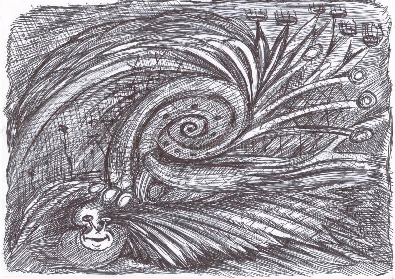 Psychedelic snail. Figure ballpoint pen. stock photo