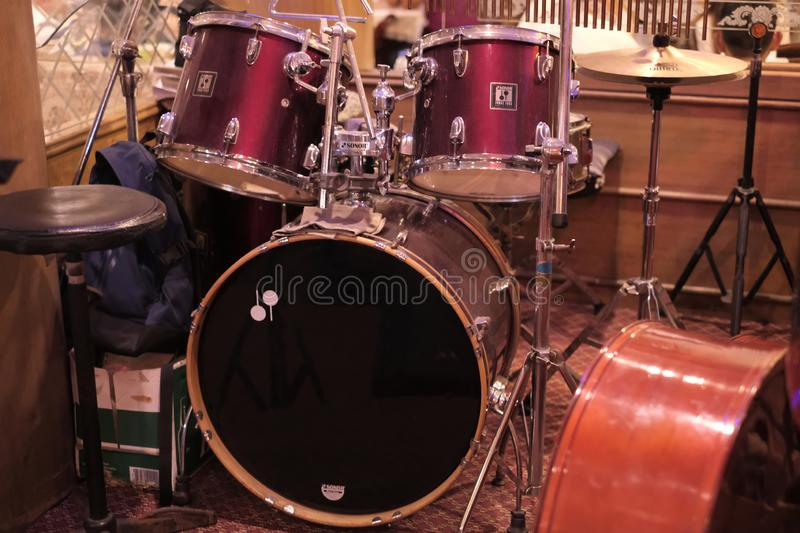Full set of drums in a luxurious restaurant stock images