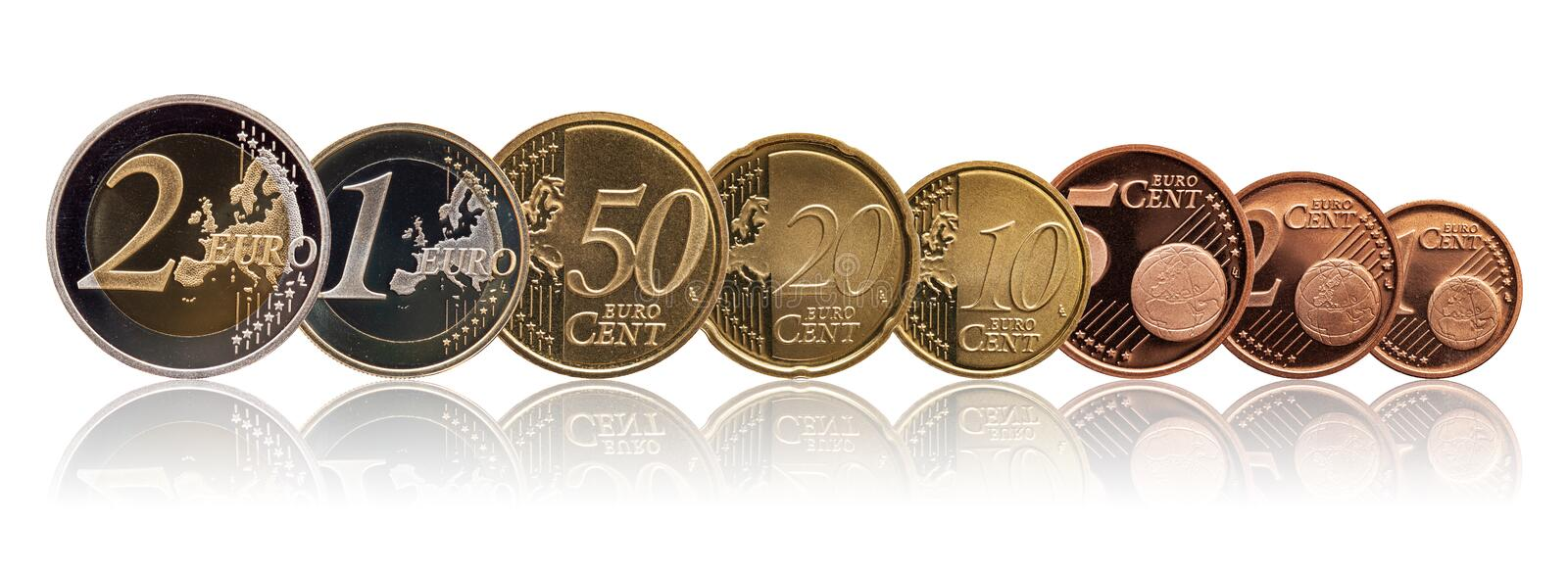 Full set of euro coins europe germany, gradient background stock photo