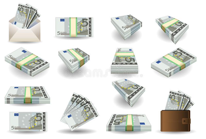 Full set of five euros banknotes stock illustration