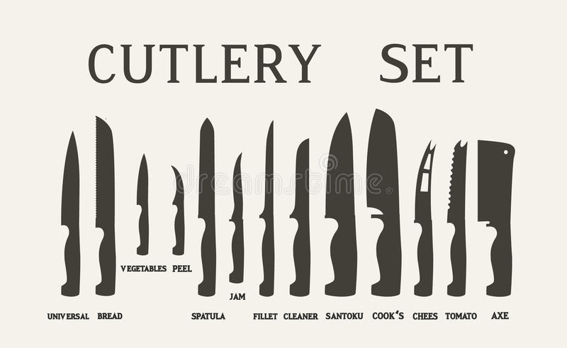 names of kitchen knives set flat icons of kitchen knives with signature names 20924