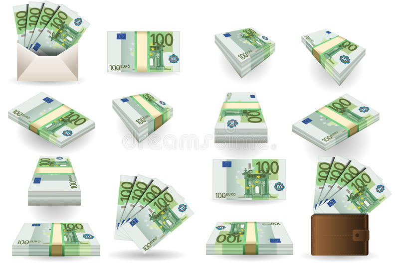 Full set of hundred euros banknotes stock illustration