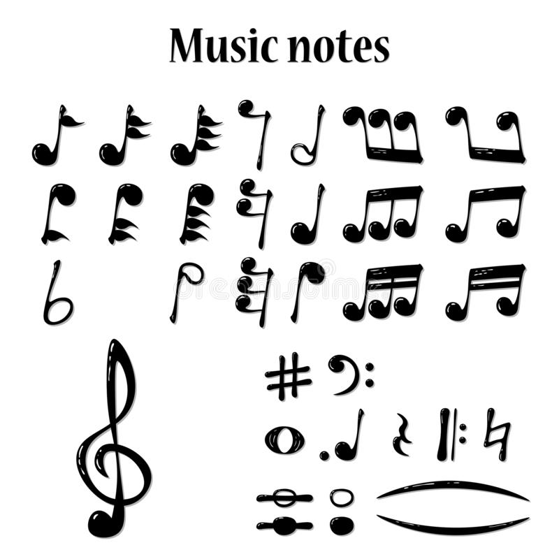Full set of realistic musical notes, vector stock illustration