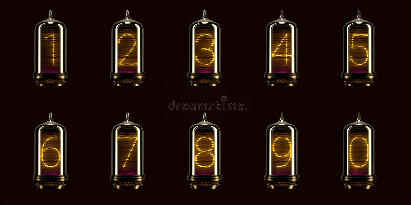 Full set of numbers on vintage indicator lights gas lamps. Steampunk Dieselpunk Art Deco 3d Render.  vector illustration