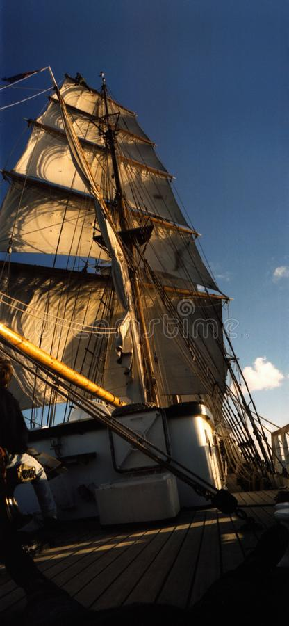 Full set of sails of the brig two mast square rigged tall ship stock image