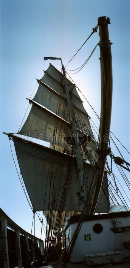 Full set of sails of the brig two mast square rigged tall ship stock photo