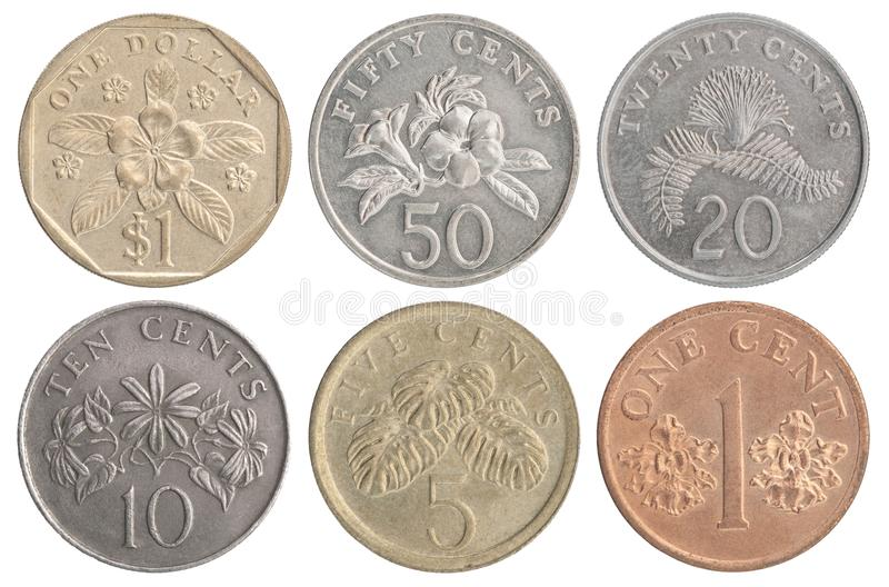 Set of Singapore coins stock images