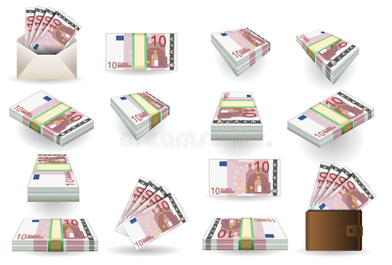 Full set of ten euros banknotes stock illustration