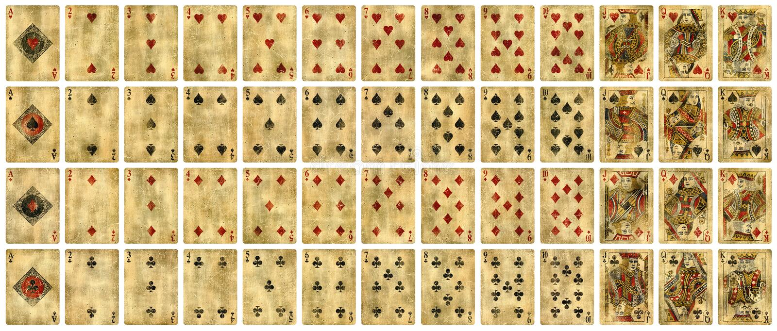 Full set of Vintage playing cards isolated on white stock images