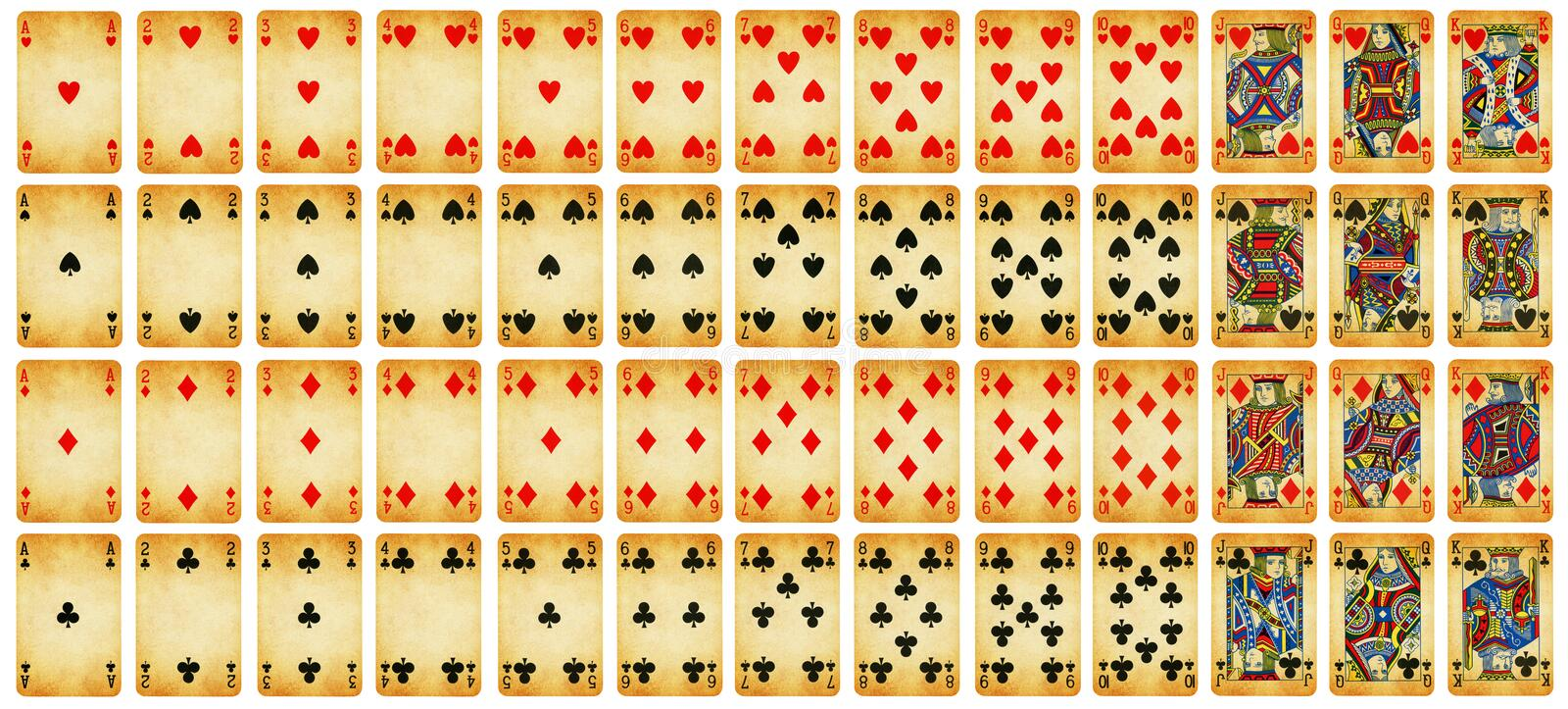 Full set of Vintage playing cards isolated on white vector illustration