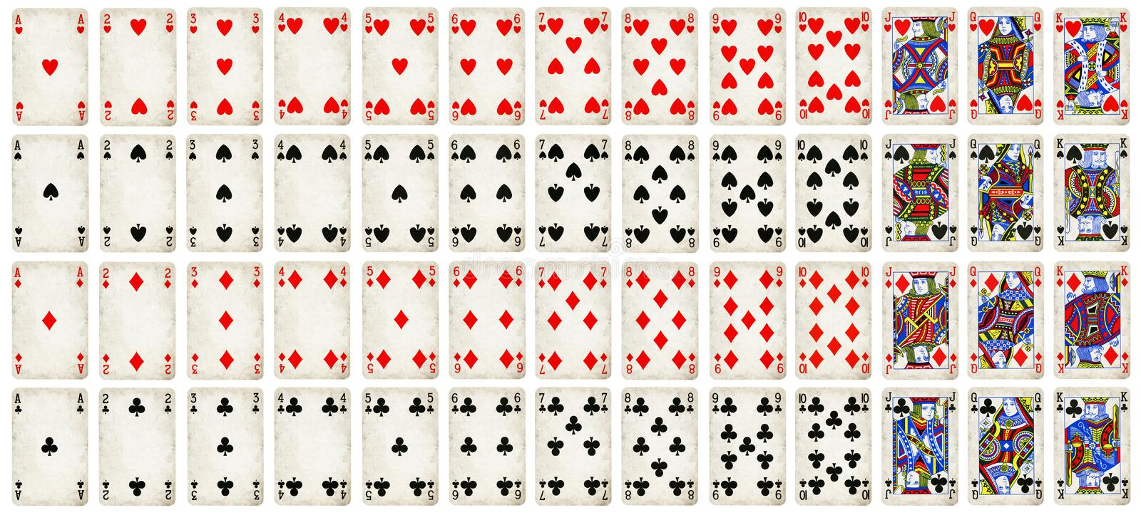 Full set of Vintage playing cards isolated on white background royalty free stock image