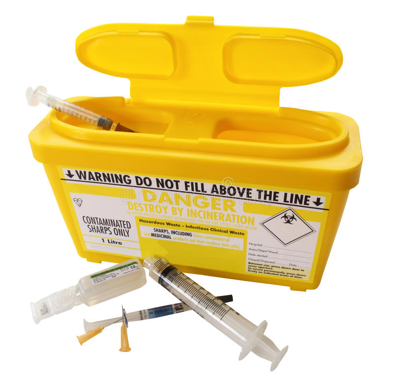 Full Sharps Container Royalty Free Stock Photo Image