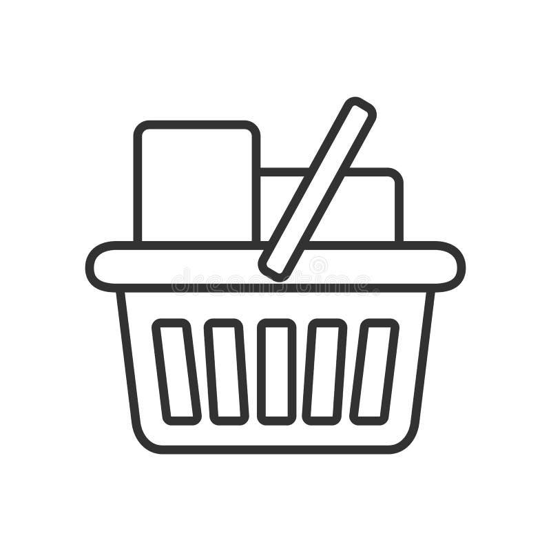 Full Shopping Basket Outline Flat Icon. Isolated on white background. Eps file available royalty free illustration