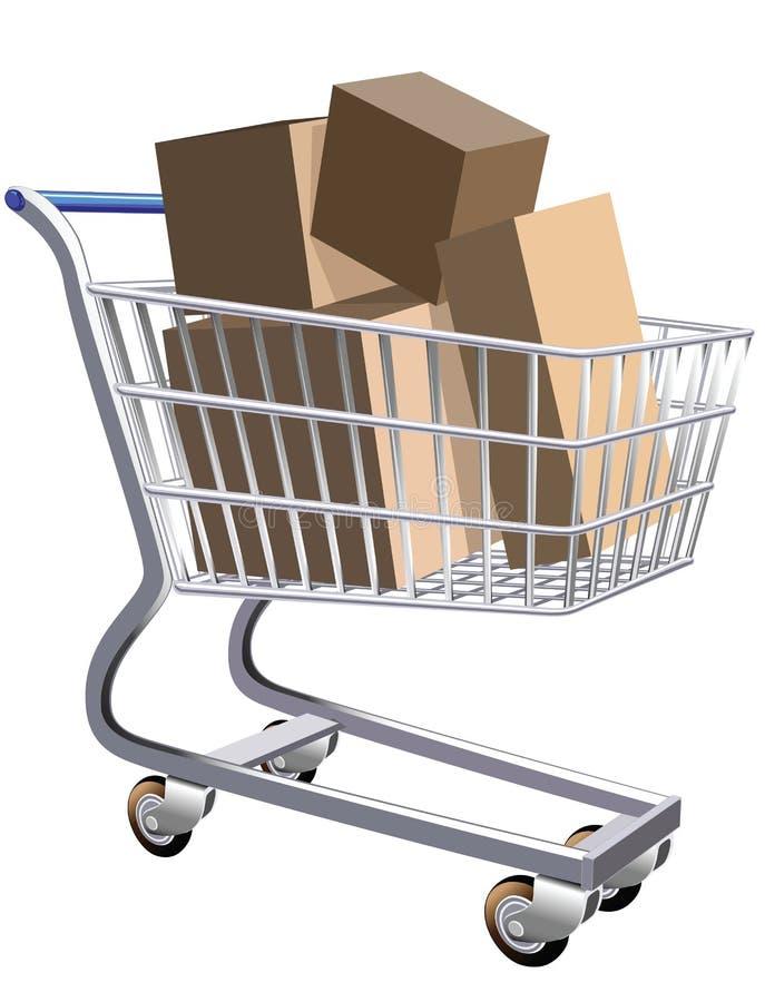 Full shopping cart. Illustration of a shopping cart full of parcels stock illustration