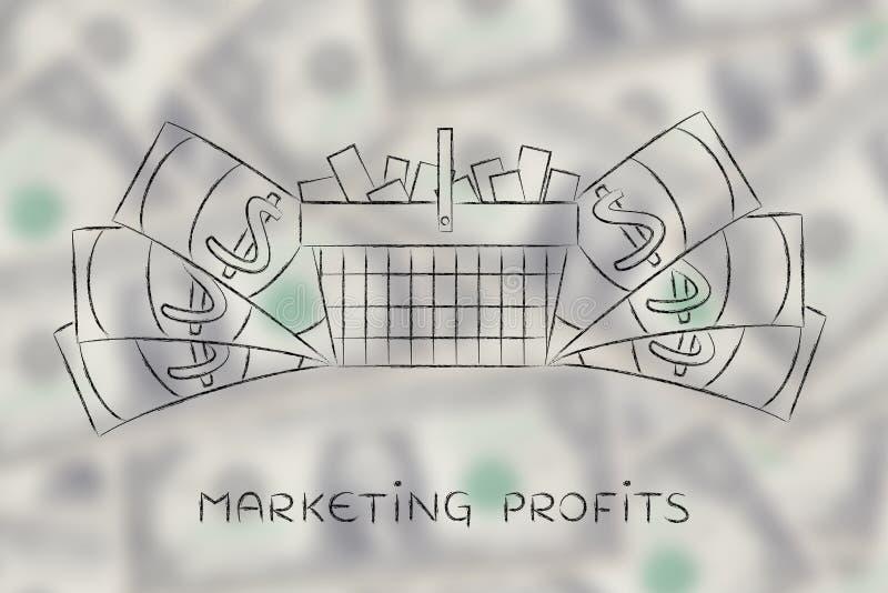 Full shopping cart & big cash around it, marketing & consumerism royalty free stock photo