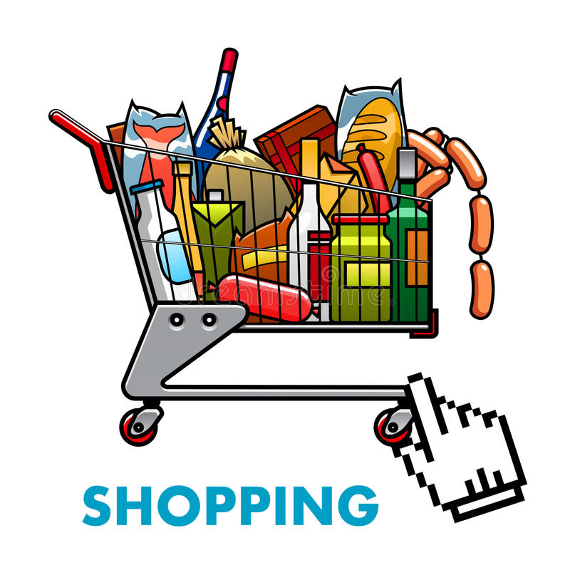 Full shopping cart with food and drinks. Online shopping concept with a full shopping cart of assorted groceries and drinks with web hand icon below for ordering stock illustration