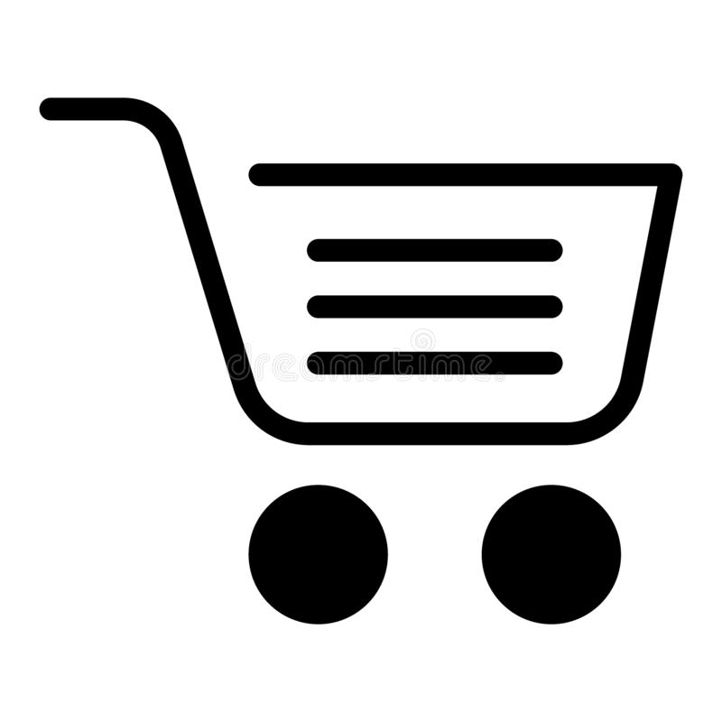 Full shopping cart solid icon. Market basket vector illustration isolated on white. Shopping trolley symbol glyph style vector illustration