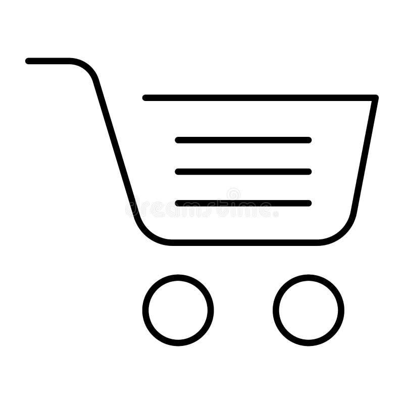 Full shopping cart thin line icon. Market basket vector illustration isolated on white. Shopping trolley symbol outline royalty free illustration