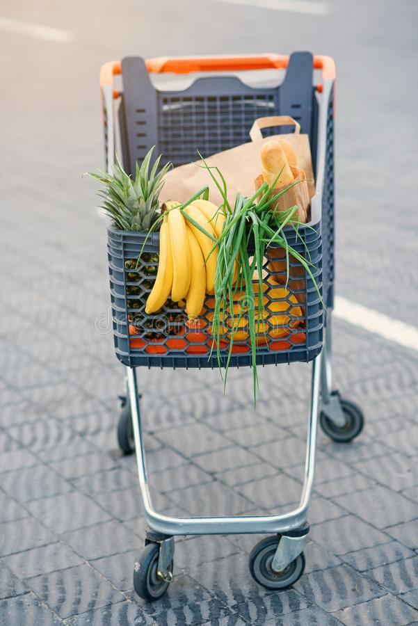 Full shopping grocery cart. Isolated on white background. royalty free stock photo