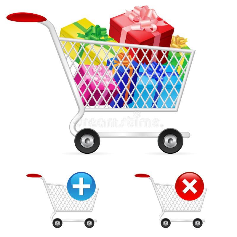 Full shoppingvagn vektor illustrationer