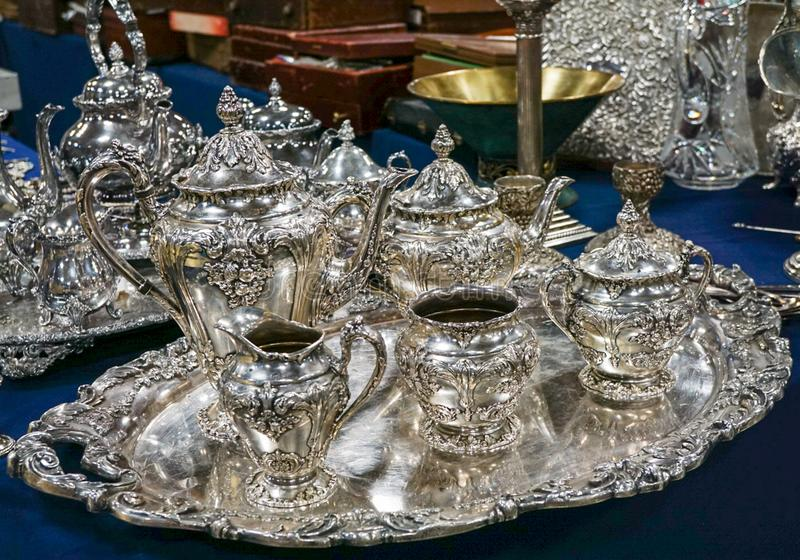 A Silver Tea Set. A full silver tea set with tray royalty free stock photo